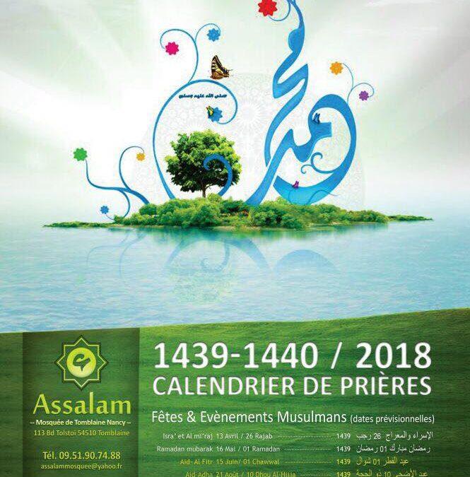 Calendrier des prières 2018