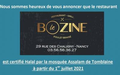 CERTIFICATION HALAL – Restaurant Bozine